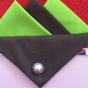 Lime Green and Brown Hankie With Brown Flap and Pin